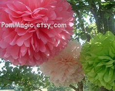 5 Tissue paper pom poms, Wedding decorations, Baby, Bridal shower, Rehearsal, Party decorations. Hanging pom poms. Hanging flower ball