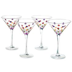 DOTS MARTINI GLASS SET  ITEM NUMBER: 2838   $44.50 NOW  $10.00   Make happy hour even happier with dots! These unique spirit glasses are perfect for serving everything from martinis and margaritas to nonalcoholic drinks and desserts. The colorful pattern makes any occasion a celebration. Set of four. 8.5 oz.  Outlet items cannot be added to show or fundraiser orders. Outlet products are final sale, so they are not eligible for 30 day free returns. They are sold without any express or…