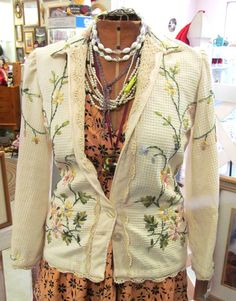 Handmade Novelty Blazer with Ribbon Embroidery by michelecaruso, $125.00