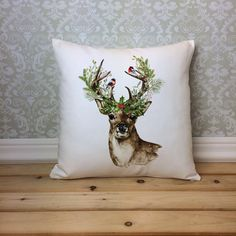 Christmas Deer Pillow Cover Watercolor Deer Pillow Christmas Pillow... ($24) ❤ liked on Polyvore featuring home, home decor, holiday decorations, decorative pillows, home & living, home décor, white, holiday decor, holiday home decor and holiday reindeer decorations