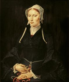 Painting of the nun Hillegond Gerritsdr, who became a nun in the St Anna cloister of Haarlem ca 1530. She was probably Marten van Heemskerck's sister-in-law. She was a wealthy Catholic and is portrayed with a rosary.