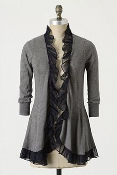 Idea: pretty flared sweater jacket with sheer ruffle trim
