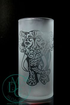 Glass Etched Elephant Vase or Candleholder, Fully Etched Sandblasted Sand Carved Glass Art Glass Etching