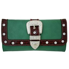 Western Rhinestone Bling Belt Buckle Trifold Wallet With Checkbook Green -- You can find more details by visiting the image link. Bling Belts, Womens Fashion For Work, Evening Bags, Belt Buckles, Studs, Shoulder Bags, Wallets, Leather, Image Link