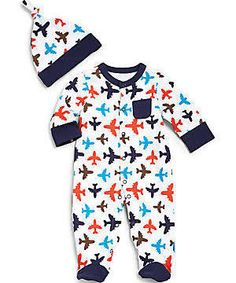 460baa1ad95e5 Offspring - Infant s Two-Piece Airplane Footie   Hat Set