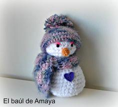 El baúl de Amaya: MUÑECO DE NIEVE DE GANCHILLO