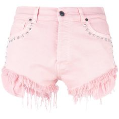 Gaelle Bonheur studded denim shorts ($129) ❤ liked on Polyvore featuring shorts, bottoms, pink, denim short shorts, pink denim shorts, jean shorts, pink shorts and studded shorts