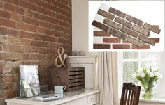 hese ½-inch-thick veneers are glued to a mesh backing that bonds to drywall like tile—no masonry skill, cement mixing, or troweling required. Brick Face, Decorative Plaster, Primitive Kitchen, Exposed Brick, Interior Walls, Interior Ideas, Interior Design, Wall Treatments, Home Staging