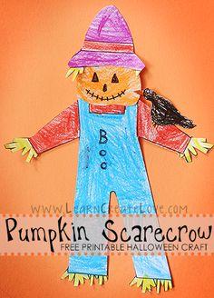 Pumpkin Scarecrow Printable Craft   LearnCreateLove.com