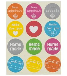 24 Stickers met o.a. de tekst: home-made by…..