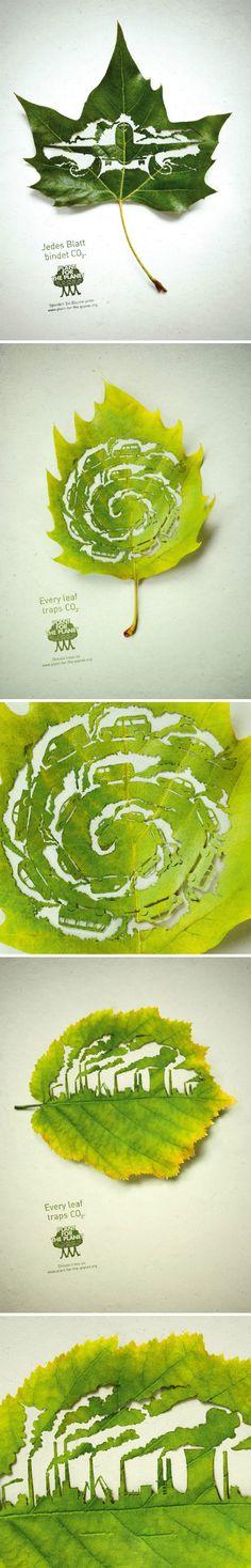 Desenhos em folhas verdes lindo--green leaves