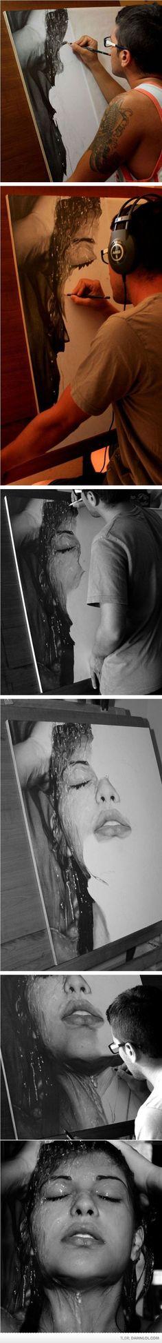 Realistic Drawing Design Photo-realistic art By Diego Fazio. Realistic Paintings, Realistic Drawings, Cool Paintings, Cool Artwork, Amazing Drawings, Cool Drawings, Amazing Art, Portraits, Drawing People