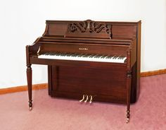 Charles R. Walter Console Model 1520 Brown Mahogany gloss Brass Hardware Bench included