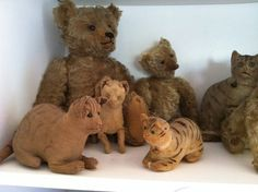 19Th C Grouping of Cloth Cat's and Bears.. www.1800primitives.com