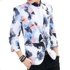 bright-blue-black-modern-art-3/4-sleeve-blazer