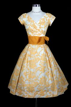 1950s Vintage Elegant Mr. Charles Flocked Cotton Party Dress