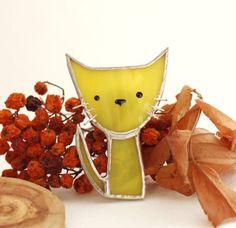 Stained glass cat #StainedGlassJewelry