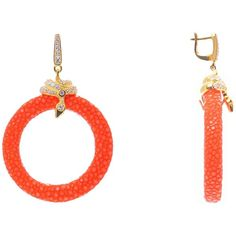 Latelita London - Stingray Medium Hoop Earring Orange ($325) ❤ liked on Polyvore featuring jewelry, earrings, orange jewelry, leather earrings, leather hoop earrings, sparkly earrings and hoop earrings