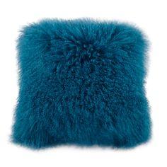 Blue Lamb Fur Feather Fill Pillow 50.8 X 50.8 X 10.16cm