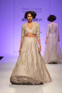 TDB Picks Payal Singhal silk embroidered lehenga in stone grey | Best of Amazon India Fashion Week Autumn Winter 2015 | thedelhibride Indian weddings blog