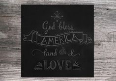 4th of July / Independence Day God Bless America Square Chalkboard Art  printable digital download on Etsy, $5.00