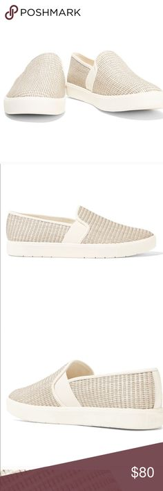 ⚡️ Vince Blair woven slip-ons Size 9.5 Very good condition - minor scuffing Vince Blair 5 Woven Jute Skate Sneaker, Natural Jute-like woven surface Slip ons Vince Shoes Sneakers