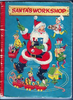 Santa's Workshop pop-up book, published and copyrighted 1951, White Plains Greeting Card Company.