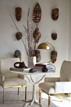 Mimosa Lane: Interior Design || Tompkins Lloyd Interiors, brass chairs, masks