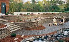pavestone retaining wall steps | ... ™ Highland Stone® Combo Retaining Wall with Stone Steps and Patio