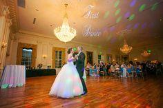 Wedding first dance in ballroom