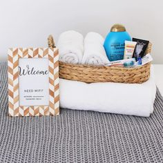 Did you see my guest room makeover today? I shared some quick and easy ideas for making guests feel welcome, like providing the Wifi password in a frame and putting together a basket of travel-size toiletries in case they forgot something! by athomeinlove