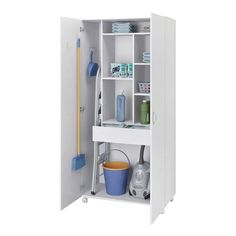 Multipurpose Cabinet São Paulo 2 Doors and Casters White – Politorno - Modern Home Organization, Cabinet Organization, Storage Cabinets, Locker Storage, Cleaning Closet, Laundry Room Layouts, Storage, Bathroom Decor, Closet Cabinets