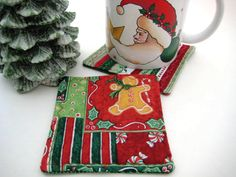 Christmas Mug Rugs  Gingerbread Men Coaster Gift Set by TooTooKute, $5.50
