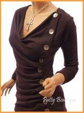 Cowl Neck Button Embellished Ruched Blouse Top