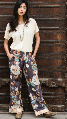 Loungewear pants in beautiful prints that are perfect for a casual outfit. Every pair empowers the women who made them through living-wage jobs and training. Purchase with purpose!