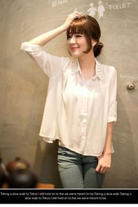 White Chiffon Bat Womens Shirt with Fashionable Rivets on The Collar