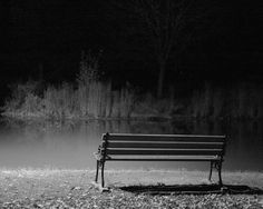 Black and White Photo of a Bench in Elizabeth Park in West Hartford, Connecticut, at Night: Photo by Sage Ross: Canon Digital Rebel XTi, 1/20 sec, f/1.8, ISO 1600, lens focal length 50 mm