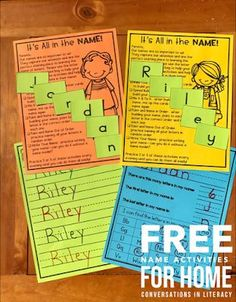 FREE Name Activity for Home! Fun Name and Letter Activities, Ideas and games for Kindergarten Back to School with a freebie! #backtoschool #nameactivities #kindergarten #ABCs #letteridentification #preschool #homeschool #conversationsinliteracy kindergarten, first grade, homeschool preschool Fluency Activities, Fun Classroom Activities, Word Work Activities, Classroom Ideas, Free Activities, Alphabet Activities, Kindergarten Freebies, Kindergarten Reading, Kindergarten Activities