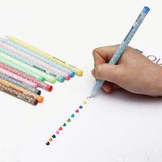 12 PCS Cute Shining Candy Ballpoint Pen Set Stationery 0.5mm