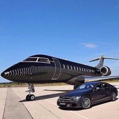 Custom private jet with the Benz