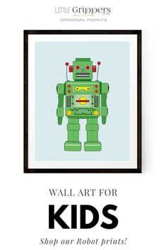 Calling all kids, big and little. If you're a robot lover then you'll love our range of robot prints. With customisable designs, these prints make great wall decor for kids bedrooms or if you want some impactful art in your home. CLICK the image to view more designs in store #RobotArt #KidsRoomDecor #WallArt #robots #kids #gendernetural #homedecor