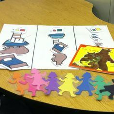 The three bears. We start by reading the book and then sort the pictures into big, medium, and small categories. The cut out and laminated goldilocks characters are used for preposition, following directions, or a Simon says type game. I have the kids listen to directions such as 'get the purple goldilocks and put her on the window' or 'get the yellow goldilocks place her on my computer then back on the table.' The kids love this! Then we each take a goldilocks and play a Simon says game…
