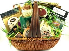 Deluxe gourmet gift baskets for Father's Day Gift baskets for dad have never been easier Large enough for a group or perfect for a hungry dad Gift Basket Village The Finer Things in Life Gourmet Gift Basket, Large
