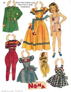 """NONA  Lucy Eleanor Leary's """"BOSTON SUNDAY POST"""" Newspaper Paper Dolls 1940s & 1950s"""