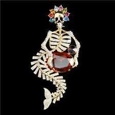 "4"" Mermaid Dia De Los Muertos Skull Brooch Pin Clear Rhinestone Crystal"