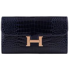 Hermes Blue Marine Alligator Constance Long Clutch Wallet ($16,545) ❤ liked on Polyvore featuring bags, wallets, crocodile leather bag, long wallet, hermes bag, crocodile skin wallet and alligator leather wallet