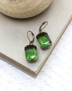Green Earrings Dark Green Rhinestones Octagon by apocketofposies
