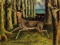 Frida Kahlo paintings, she always painted herself because of an accident that kept her in bed most of her life, her life is amazing, she is beyond styles, her art came from necessity and love of life.