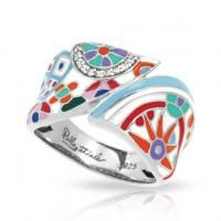 Pashmina White Ring by Belle Etoile. 925 Sterling Silver. Fashion Jewelry. Italian Enamel.