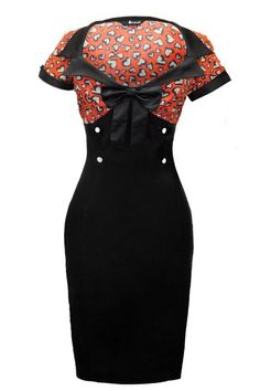 34e6285d6bf1 Lady Vintage Red Heart Print Wiggle Dress Retro Mode